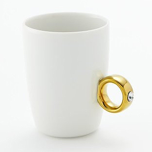 Cup Ring White/Gold Clear